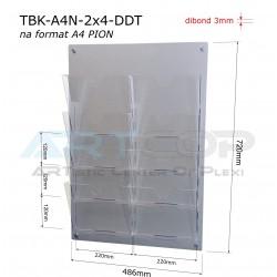 Tablica z Dibondu Drapanego A4 x8 PION, kieszenie bezbarwne