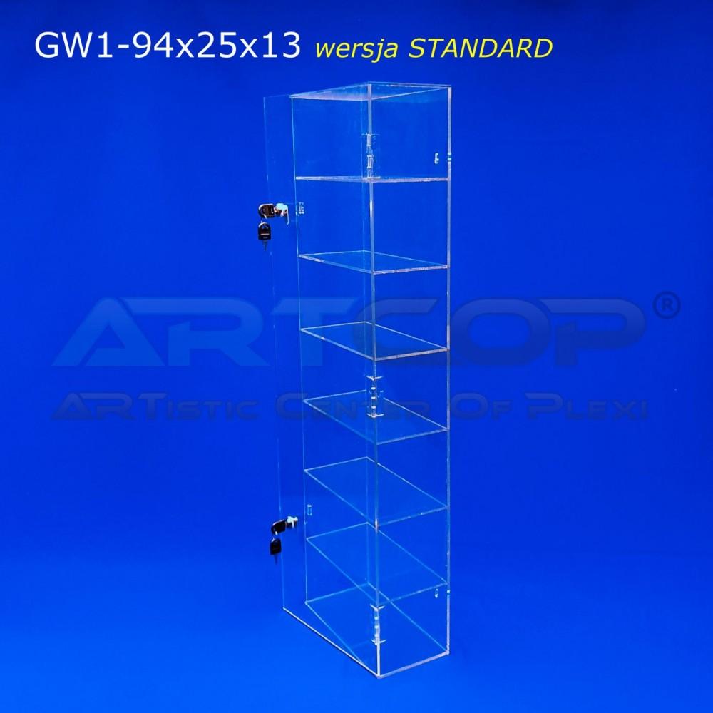 POWYSTAWOWA Gablota, szafka wisząca 94x25x13cm z plexi 4mm