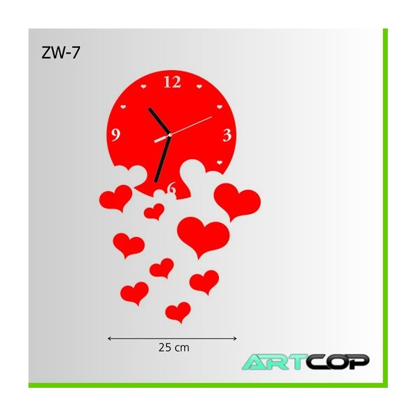 Zegar ścienny - WOLNE serca