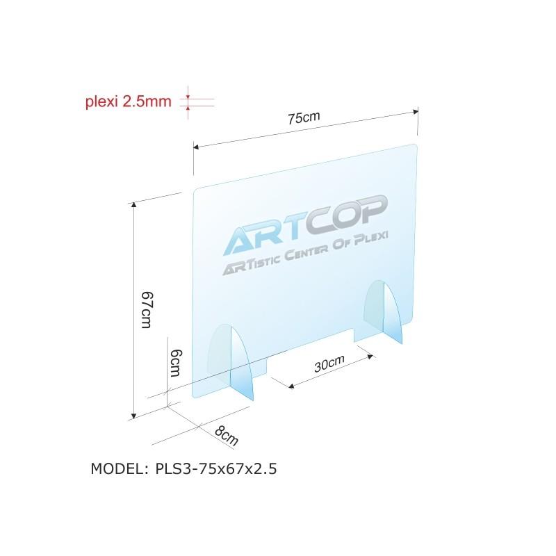Osłona antywirusowa PLS3-75x67x2.5 - anty COVID-19