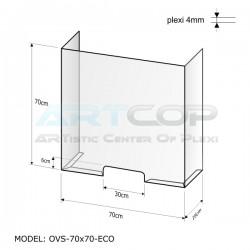 Osłona ladowa antywirusowa OVS - 70cm x 70cm x 16cm z poliwęglanu bezbarwnego 4mm
