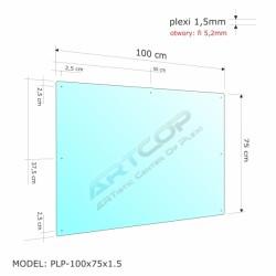 Osłona podwieszana z plexi 1,5mm wym. 100x75cm