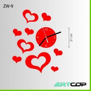 Zegar ścienny - ROZBIEGANE serca