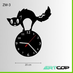 Zegar ścienny - NASTROSZONY kot