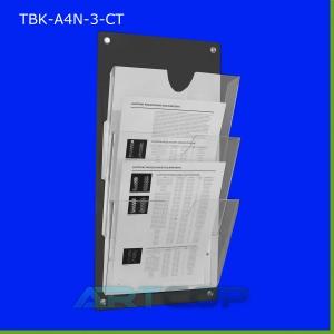 Tablica z kieszeniami A4 PION z czarnej plexi, kieszenie bezbarwne