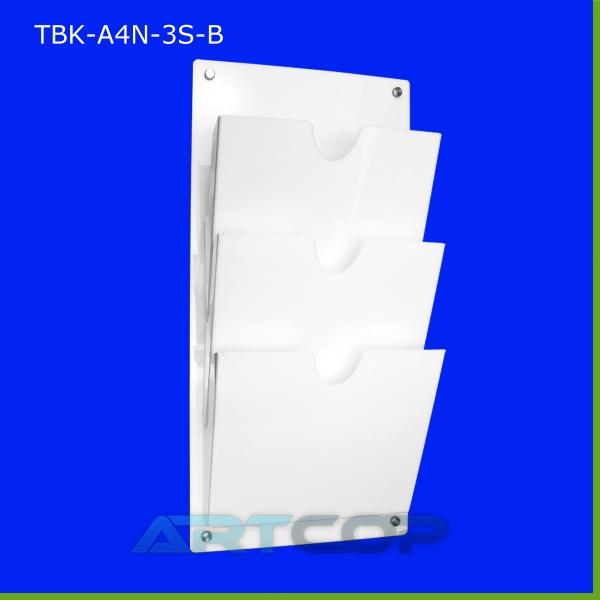 Tablica z kieszeniami A4 x3 PION na skoroszyty, z plexi opalowej