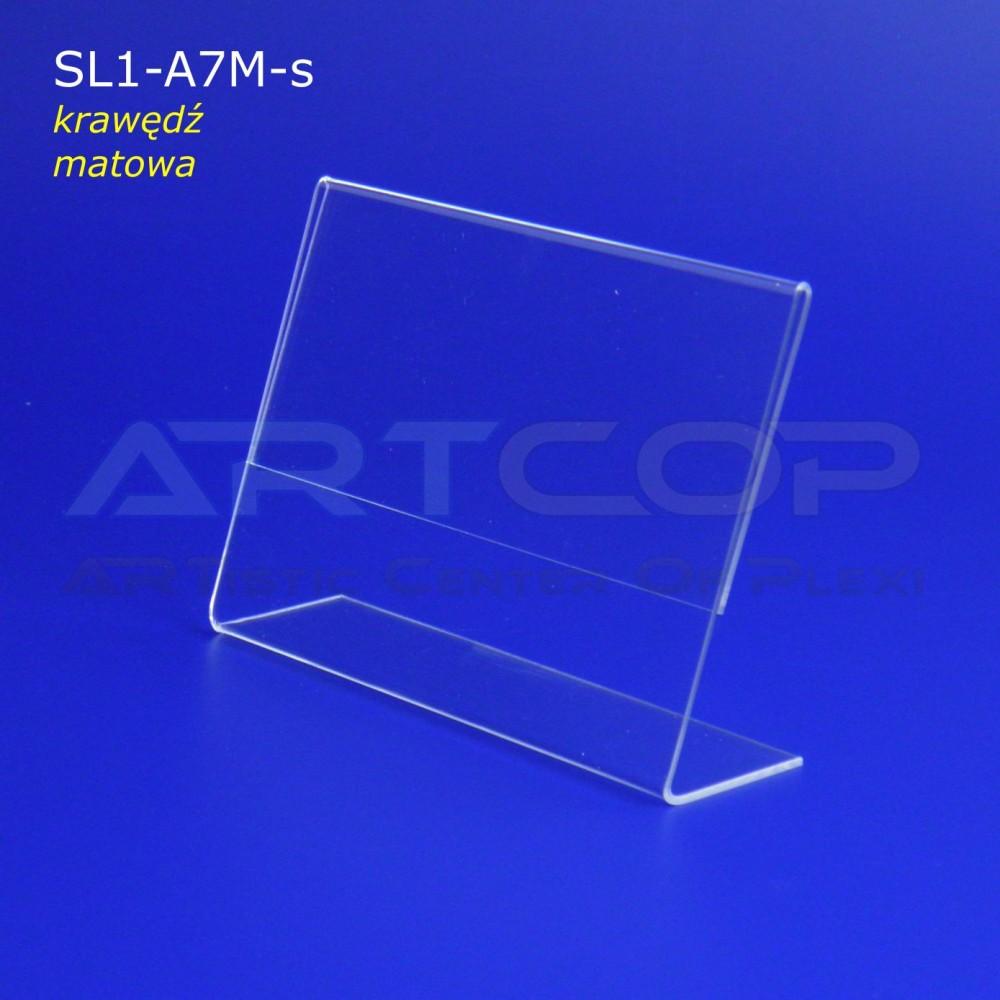 Stojak A7 POZIOM z plexi, typ L - krawędź MAT