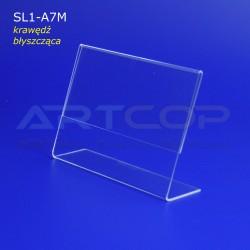 Stojak A7 POZIOM z plexi, typ L - krawędź BŁYSK