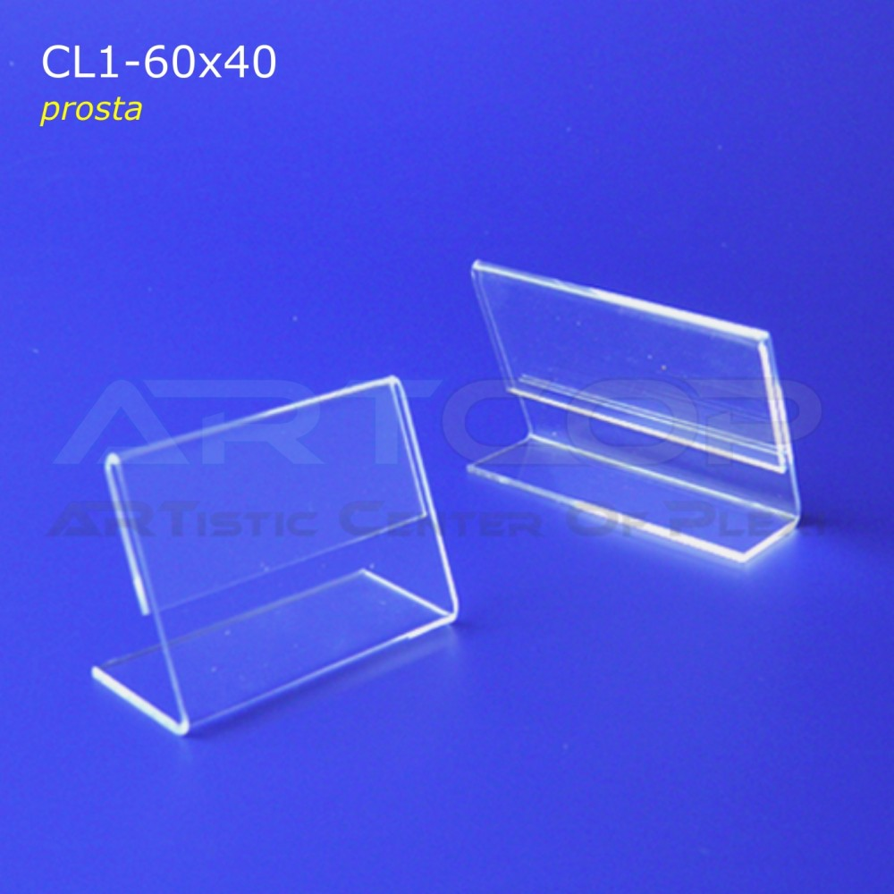 Cenówka 60x40 z plexi, prosta CL1