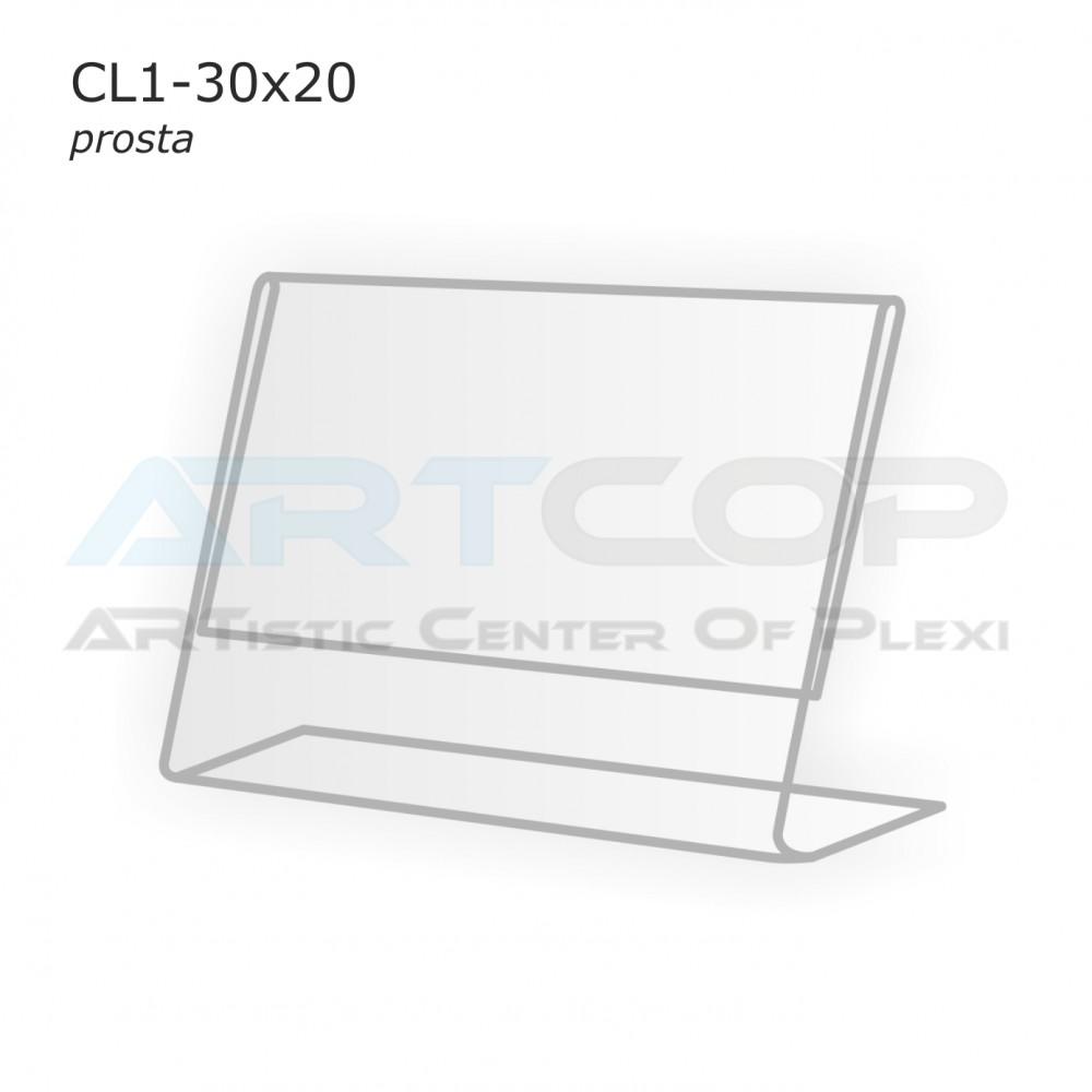 Cenówka 30x20 z plexi, prosta CL1