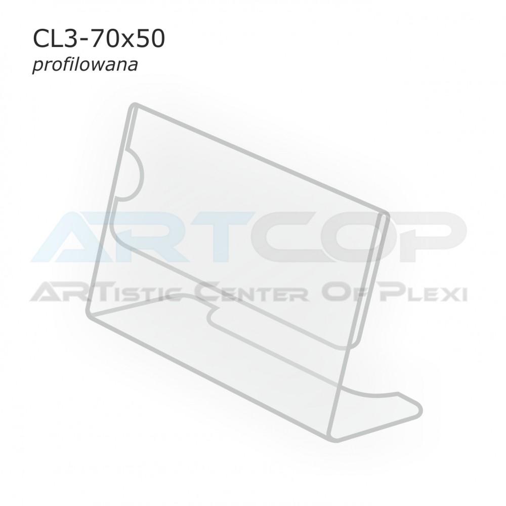 Cenówka 70x50 z plexi, profilowana CL3