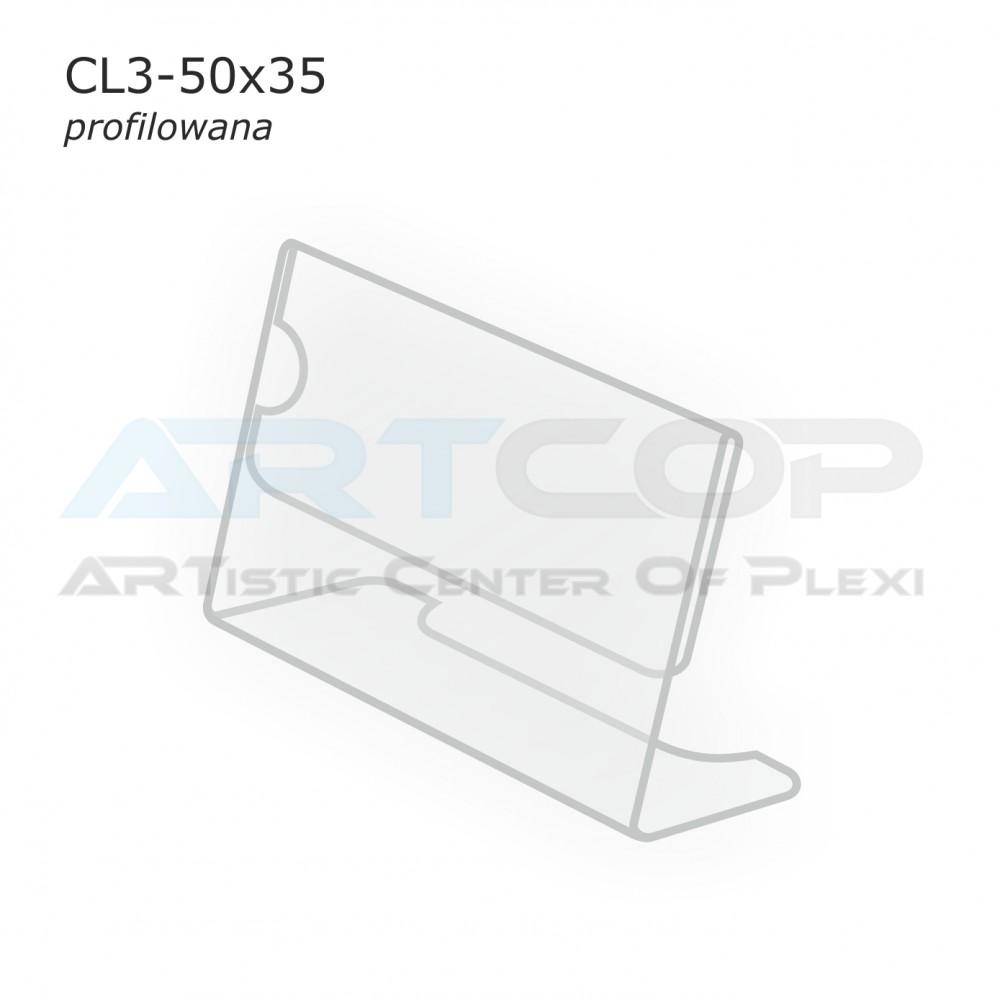 Cenówka 50x35 z plexi, profilowana CL3