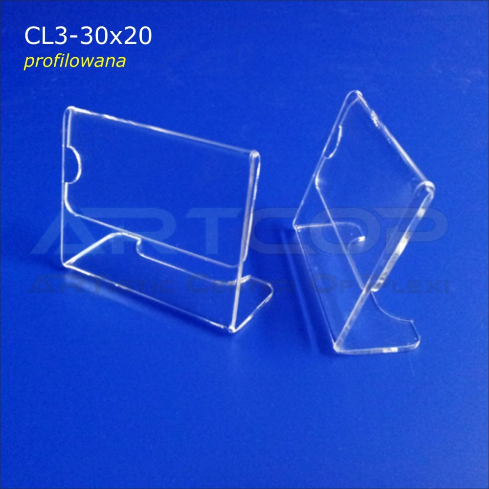 Cenówka 30x20 z plexi, profilowana CL3