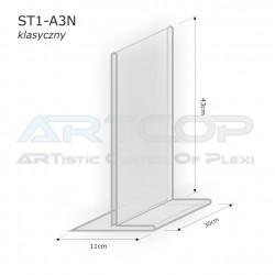 Stojak info A3 PION typ T z plexi (klasyczny) - ST1