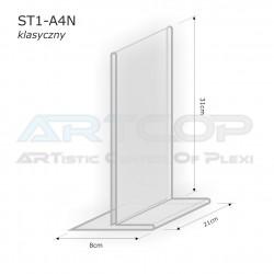 Stojak info A4 PION typ T z plexi (klasyczny) - ST1
