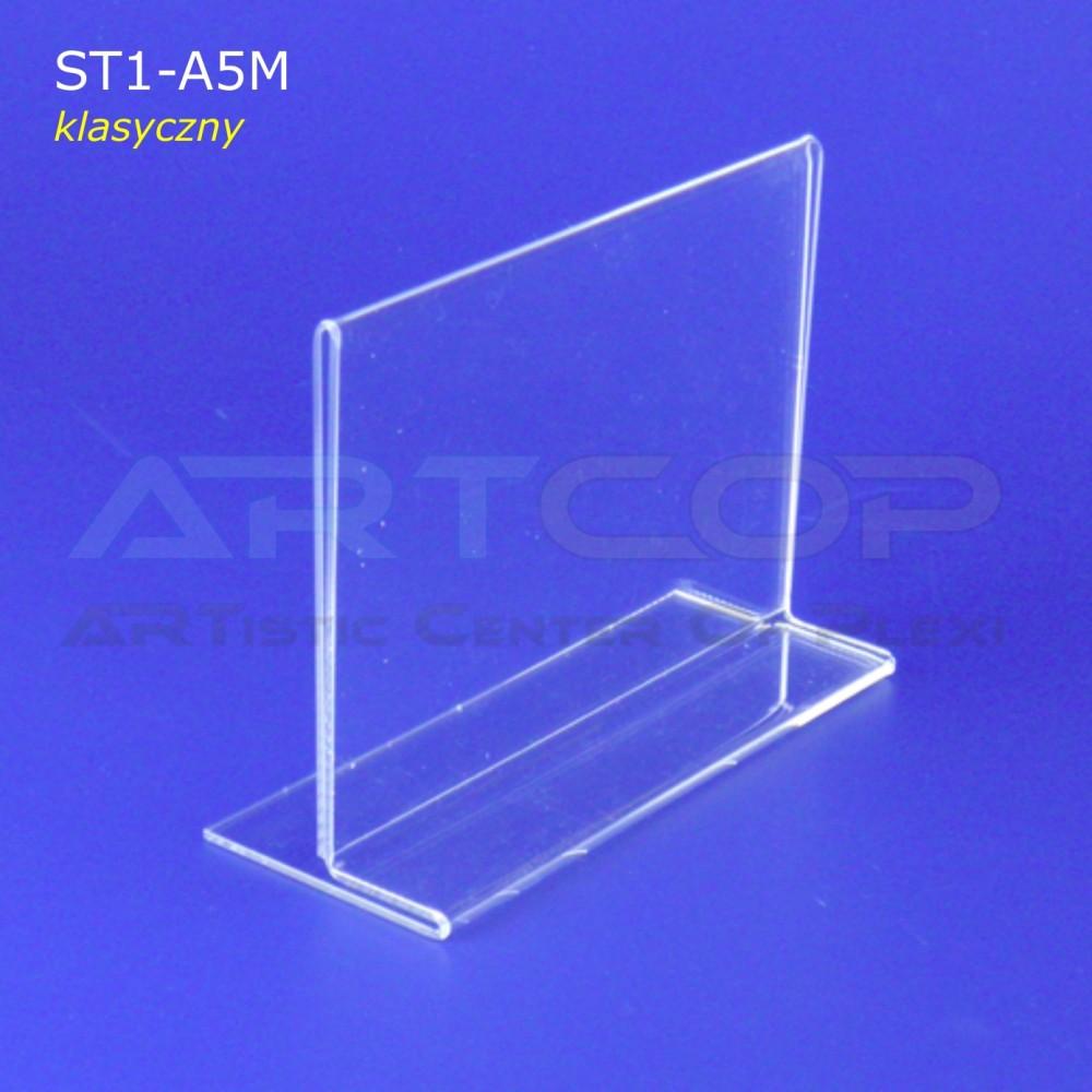 Stojak info A5 POZIOM typ T z plexi (klasyczny) - ST1