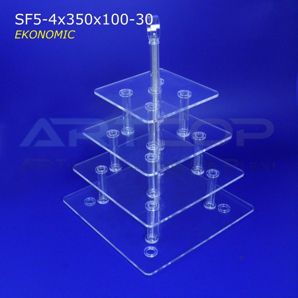 Patera KWADRAT z uchwytem - 4 blaty SF5-4x300x100-30