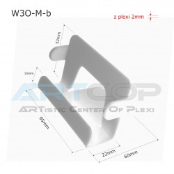 Wizytownik prosty biały W3O-M-b z boczkami