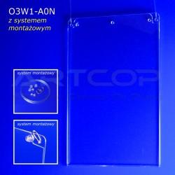 Plakatownik A0 PION z systemem montażowym - model O3W1