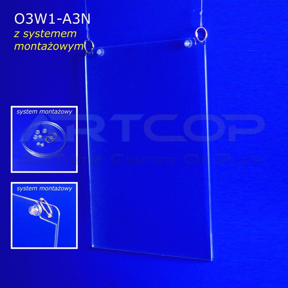 Plakatownik A3 PION z systemem montażowym - model O3W1