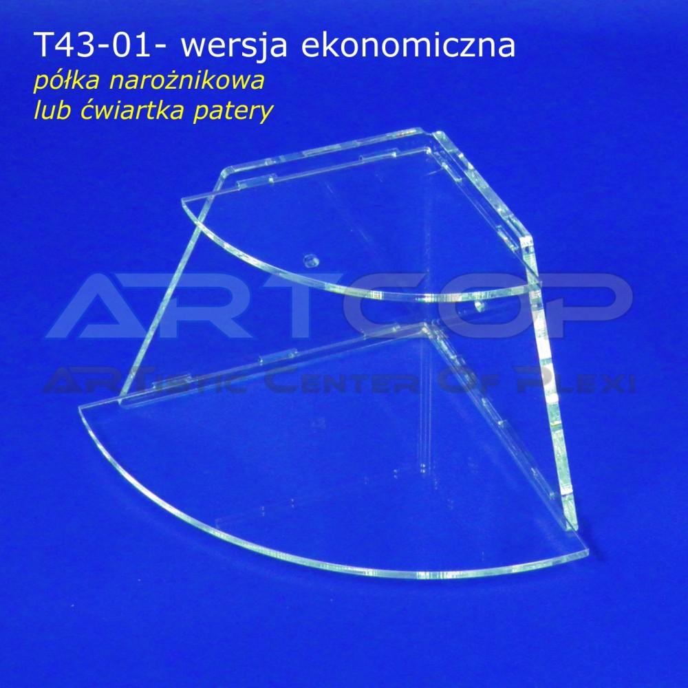 Ekspozytor T43-01 - wersja EKO, Pólka narożnikowa, Ćwiartka patery składanej