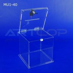 Skarbona z plexi MU1-40, urna na ankiety lub zbiórki funduszy