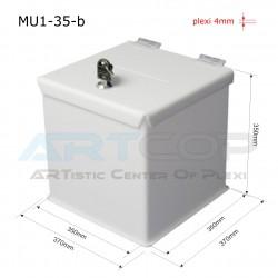 Skarbona biała MU1-35-b na zbiórki, urna na ankiety
