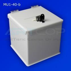 Skarbona biała MU1-40-b na zbiórki, urna na ankiety