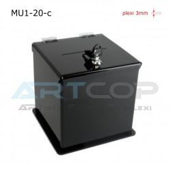 Skarbona czarna MU1-20-c na zbiórki, urna na ankiety