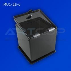 Skarbona czarna MU1-25-c na zbiórki, urna na ankiety