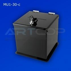 Skarbona czarna MU1-30-c na zbiórki, urna na ankiety