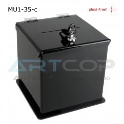Skarbona czarna MU1-35-c na zbiórki, urna na ankiety