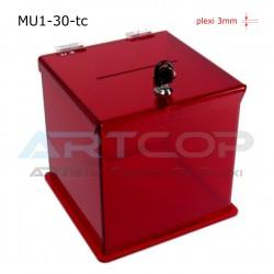 Skarbona MU1-30-tc, Urna na ankiety, z plexi transparent czerwony