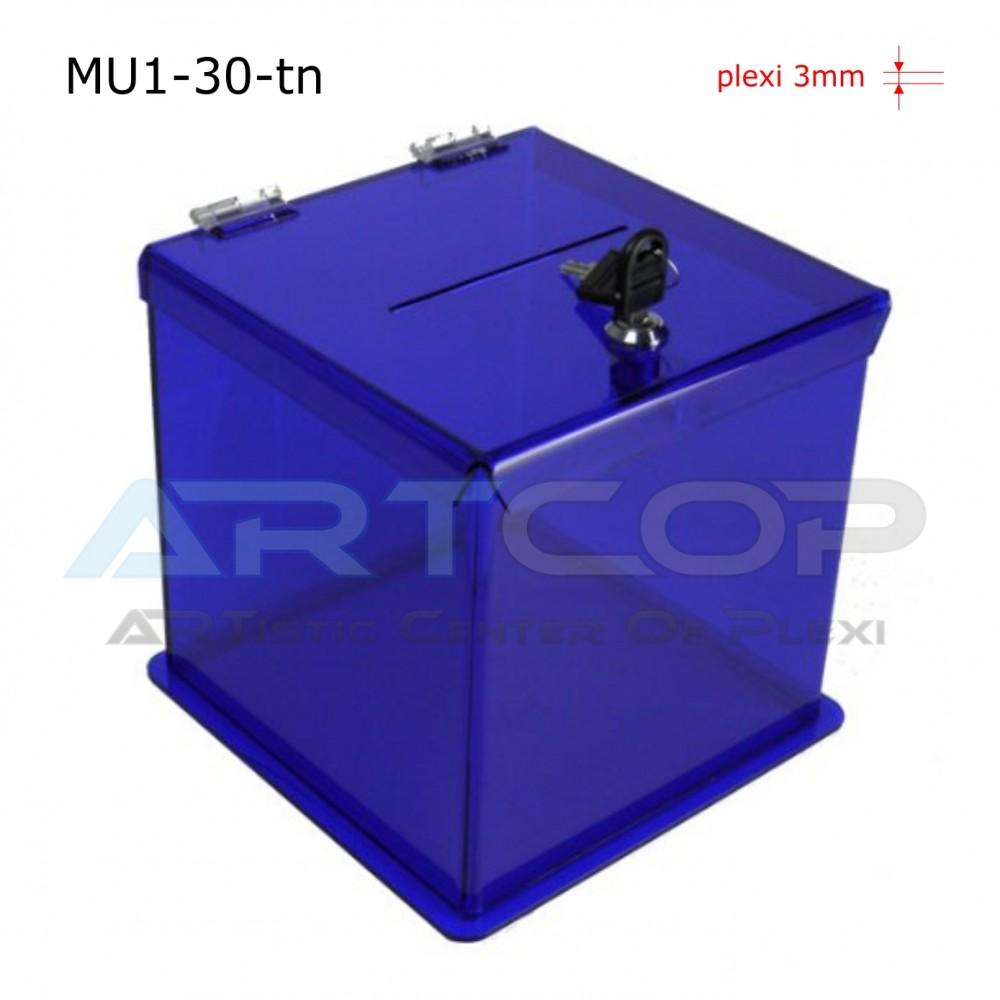 Skarbona MU1-30-tn, Urna na ankiety, z plexi transparent niebieski