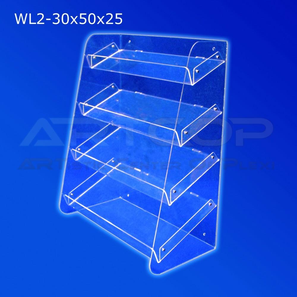 Witrynka z plexi WL2 30x50x25cm, skośna z 4 półkami