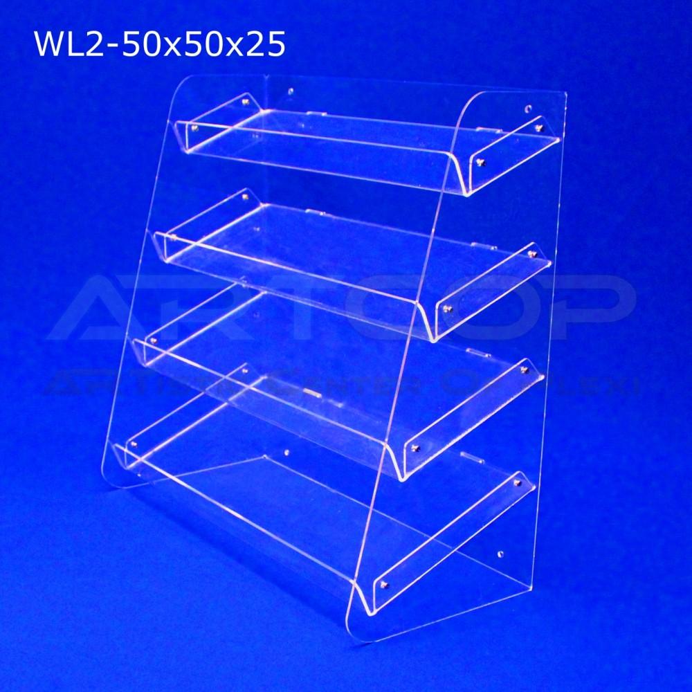 Witrynka z plexi WL2 50x50x25cm, skośna z 4 półkami
