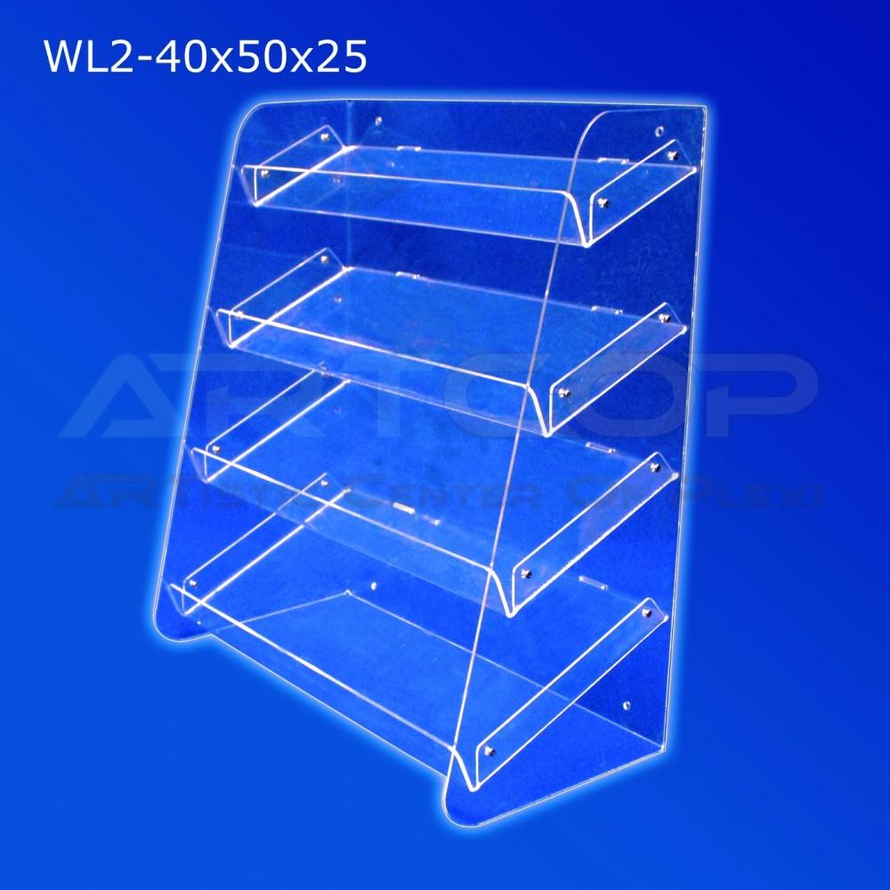 Witrynka z plexi WL2 40x50x25cm, skośna z 4 półkami z możliwością powieszenia