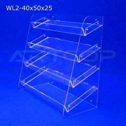 Witrynka z plexi WL2 40x50x25cm, skośna z 4 półkami