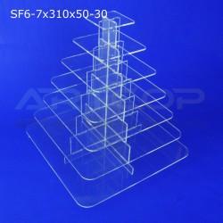 Fontanna KWADRAT 310x50 z 7 blatami wys. 34cm z plexi bezbarwnej