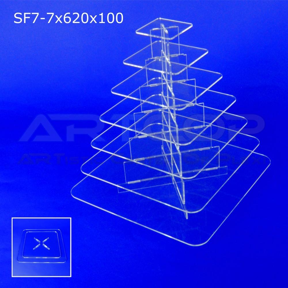 Fontanna KWADRAT 620x100 z 7 blatami wys. 67cm - model SF7