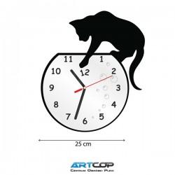 Zegar ścienny - ŁOWIĄCY kot