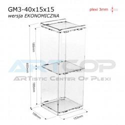 Gablotka Mini 40x15x15cm z plexi 3mm wersja EKONOMICZNA