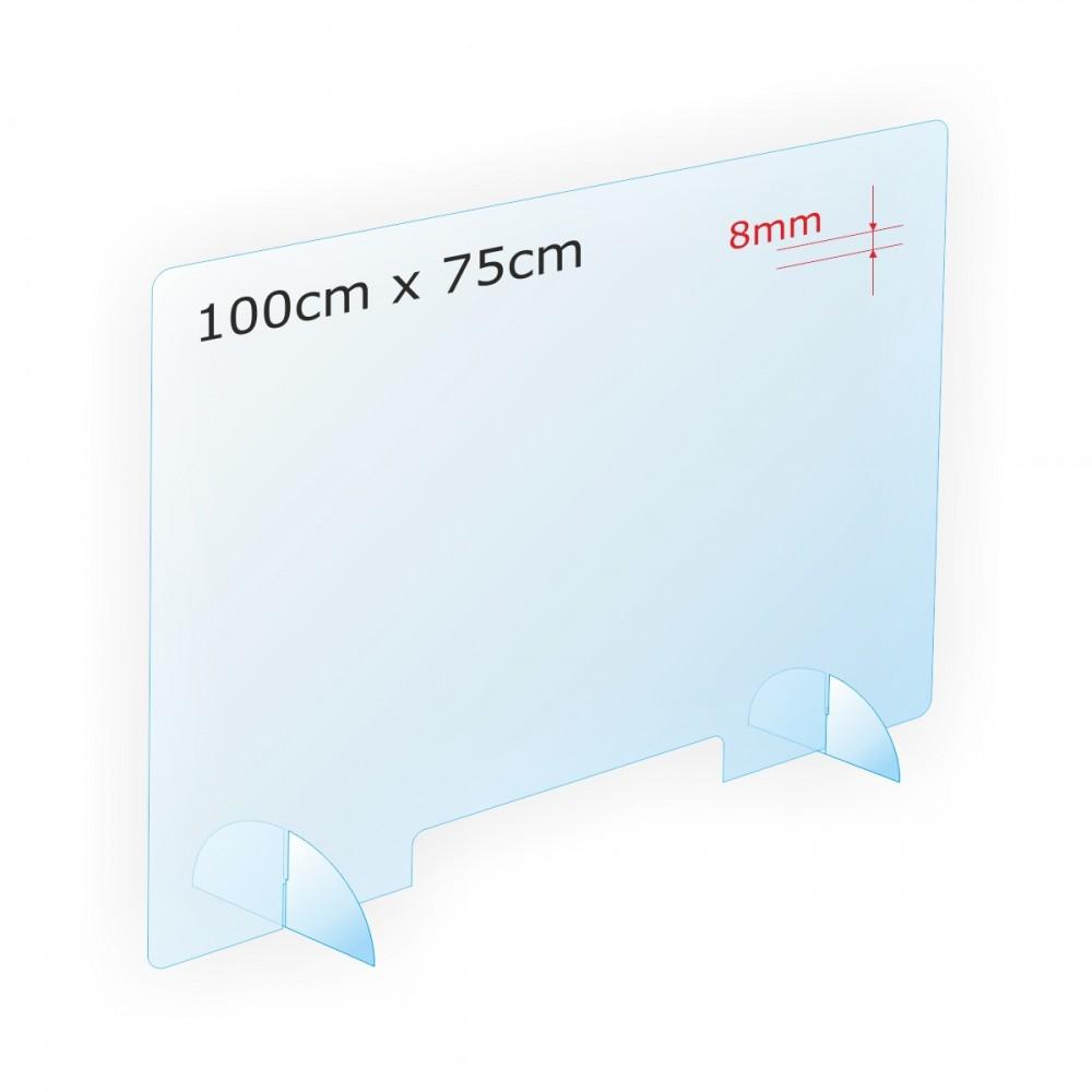 Osłona antywirusowa na ladę z plexi 8mm PLS3-100x75x8 - anty COVID-19