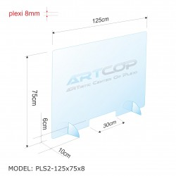 Osłona antywirusowa na ladę z plexi 8mm PLS2-125x75x8