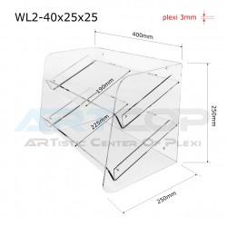 Witrynka z plexi WL2 40x25x25cm, skośna z 2 półkami