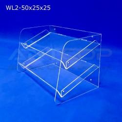 Witrynka z plexi WL2 50x25x25cm, skośna z 2 półkami
