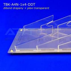Tablica z Dibondu Drapanego A4 x4 PION, kieszenie bezbarwne