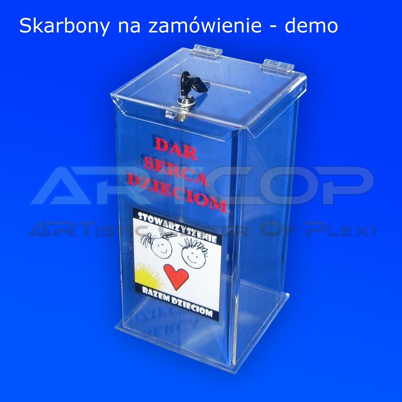 Skarbona urna z plexi z nadrukiem UV